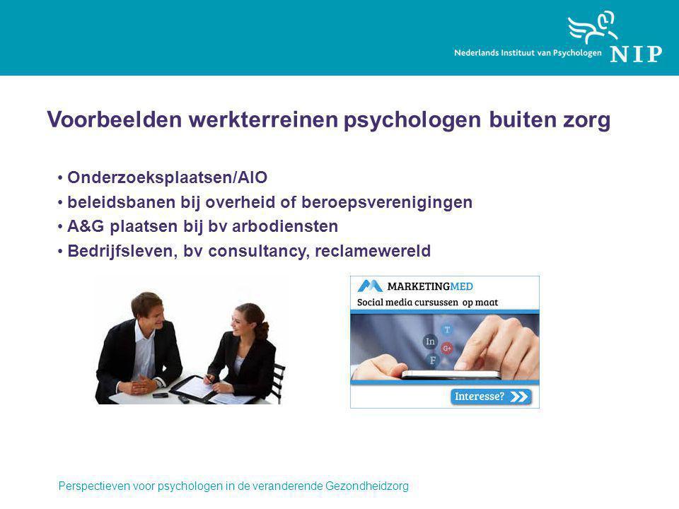 Voorbeelden werkterreinen psychologen buiten zorg Onderzoeksplaatsen/AIO beleidsbanen bij overheid of beroepsverenigingen A&G plaatsen bij bv arbodiensten Bedrijfsleven, bv consultancy, reclamewereld Perspectieven voor psychologen in de veranderende Gezondheidzorg
