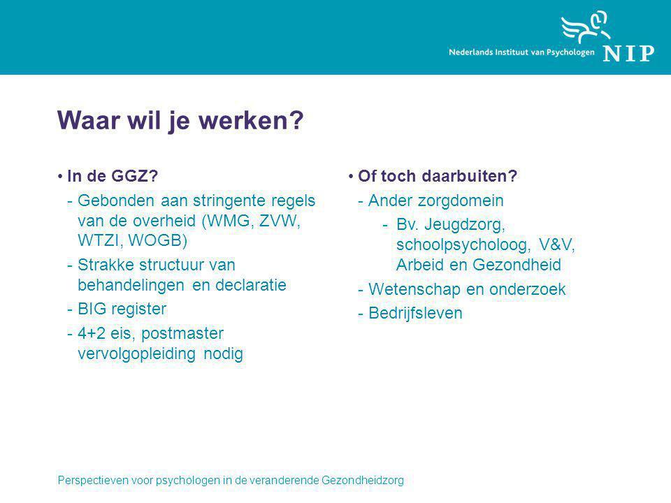Waar wil je werken? In de GGZ? -Gebonden aan stringente regels van de overheid (WMG, ZVW, WTZI, WOGB) -Strakke structuur van behandelingen en declarat