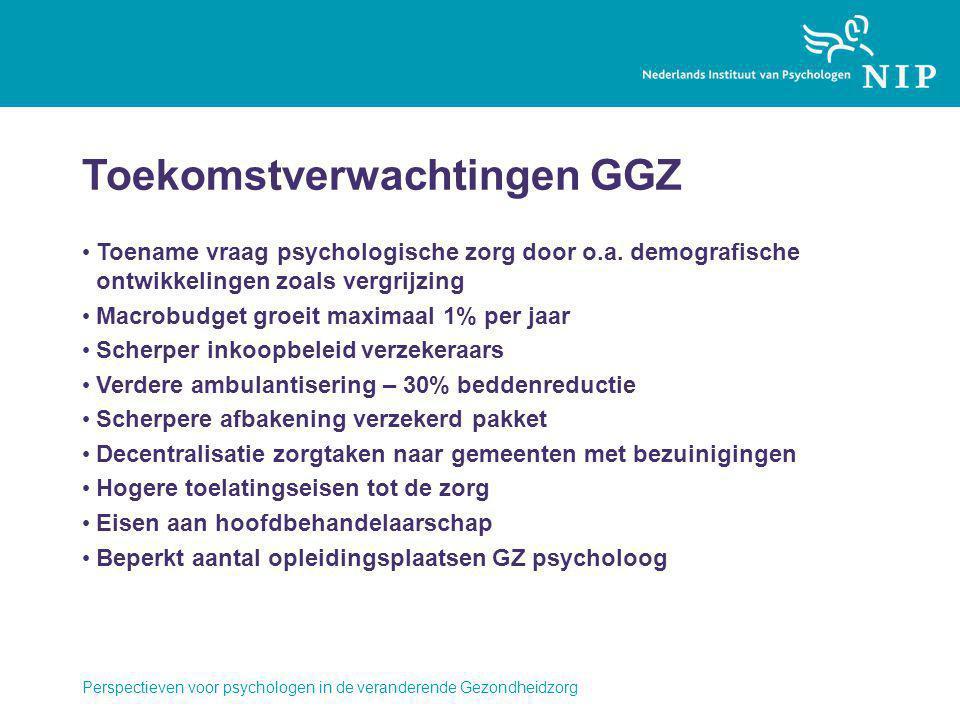 Toekomstverwachtingen GGZ Toename vraag psychologische zorg door o.a. demografische ontwikkelingen zoals vergrijzing Macrobudget groeit maximaal 1% pe