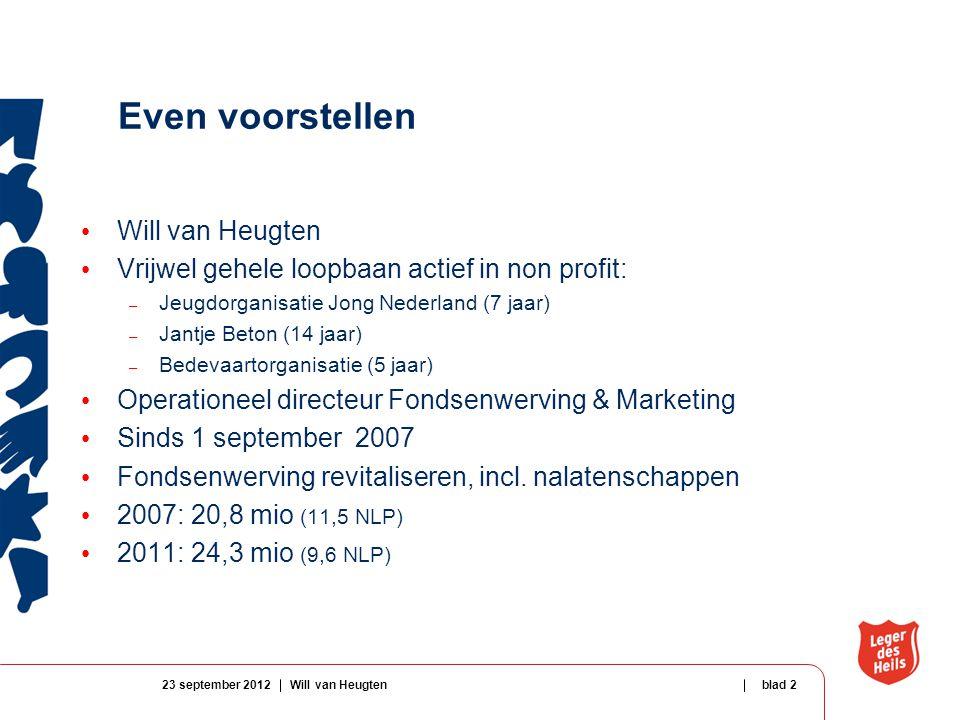Even voorstellen Will van Heugten Vrijwel gehele loopbaan actief in non profit: – Jeugdorganisatie Jong Nederland (7 jaar) – Jantje Beton (14 jaar) – Bedevaartorganisatie (5 jaar) Operationeel directeur Fondsenwerving & Marketing Sinds 1 september 2007 Fondsenwerving revitaliseren, incl.