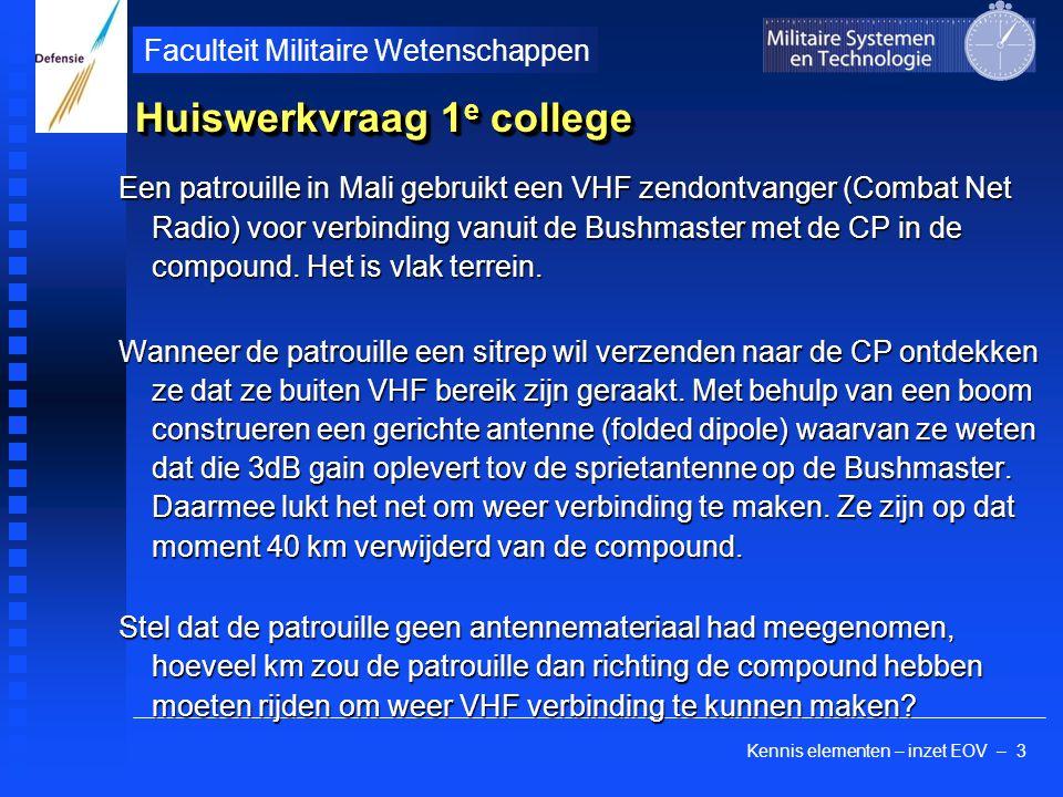 Kennis elementen – inzet EOV – 3 Faculteit Militaire Wetenschappen Huiswerkvraag 1 e college Een patrouille in Mali gebruikt een VHF zendontvanger (Combat Net Radio) voor verbinding vanuit de Bushmaster met de CP in de compound.