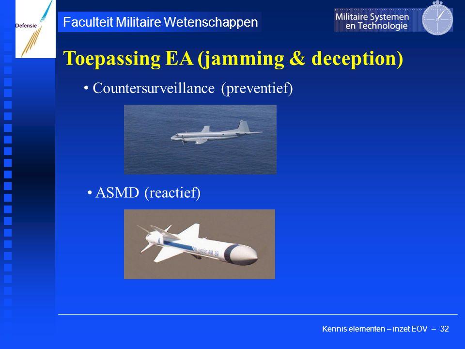 Kennis elementen – inzet EOV – 32 Faculteit Militaire Wetenschappen Toepassing EA (jamming & deception) Countersurveillance (preventief) ASMD (reactief)
