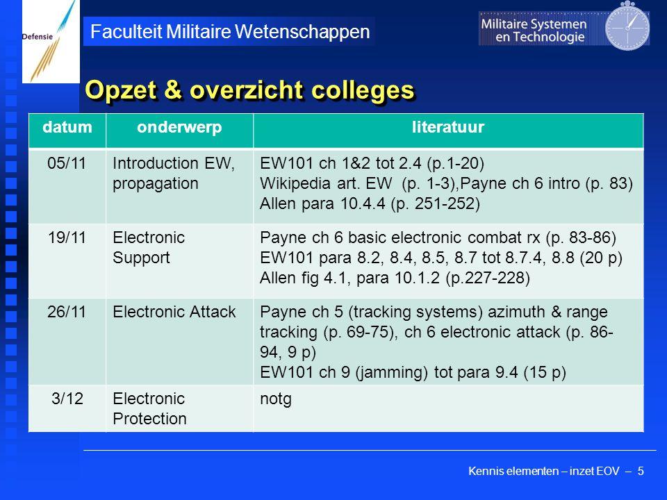 Kennis elementen – inzet EOV – 5 Faculteit Militaire Wetenschappen Opzet & overzicht colleges datumonderwerpliteratuur 05/11Introduction EW, propagation EW101 ch 1&2 tot 2.4 (p.1-20) Wikipedia art.
