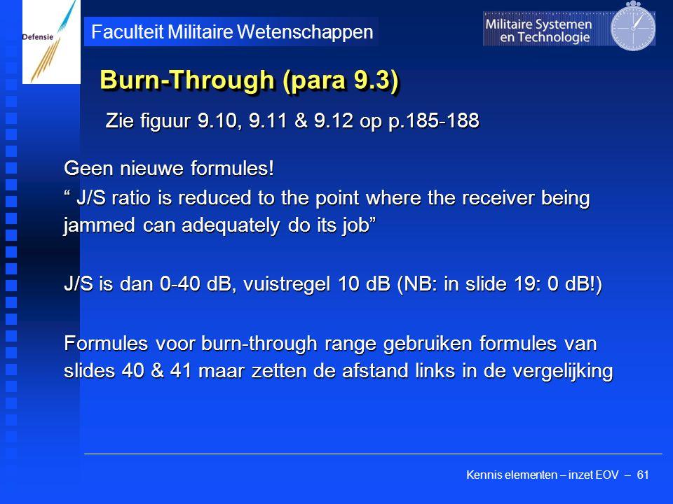 Kennis elementen – inzet EOV – 61 Faculteit Militaire Wetenschappen Burn-Through (para 9.3) Zie figuur 9.10, 9.11 & 9.12 op p.185-188 Geen nieuwe formules.