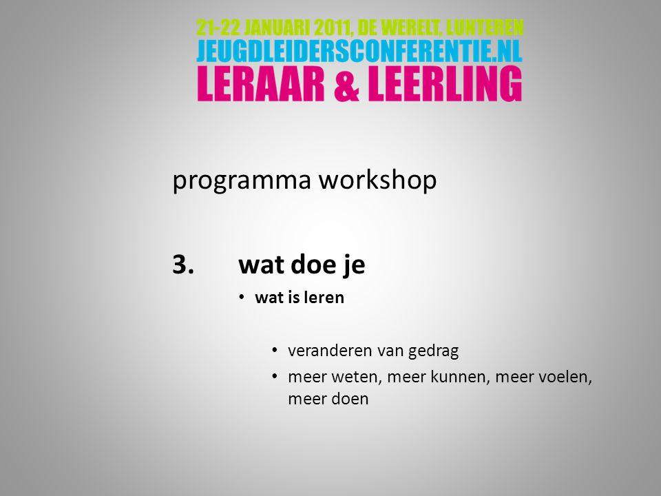 programma workshop 3.wat doe je wat is leren veranderen van gedrag meer weten, meer kunnen, meer voelen, meer doen