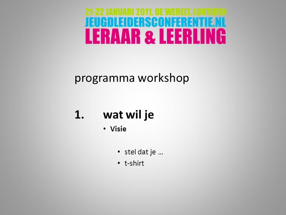 programma workshop 1.wat wil je Visie stel dat je … t-shirt