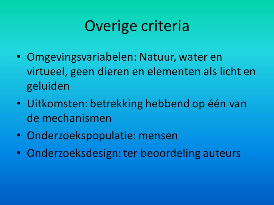 Overige criteria Omgevingsvariabelen: Natuur, water en virtueel, geen dieren en elementen als licht en geluiden Uitkomsten: betrekking hebbend op één