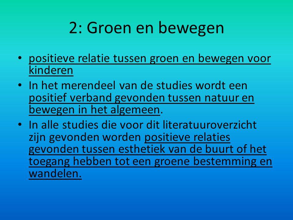 2: Groen en bewegen positieve relatie tussen groen en bewegen voor kinderen In het merendeel van de studies wordt een positief verband gevonden tussen