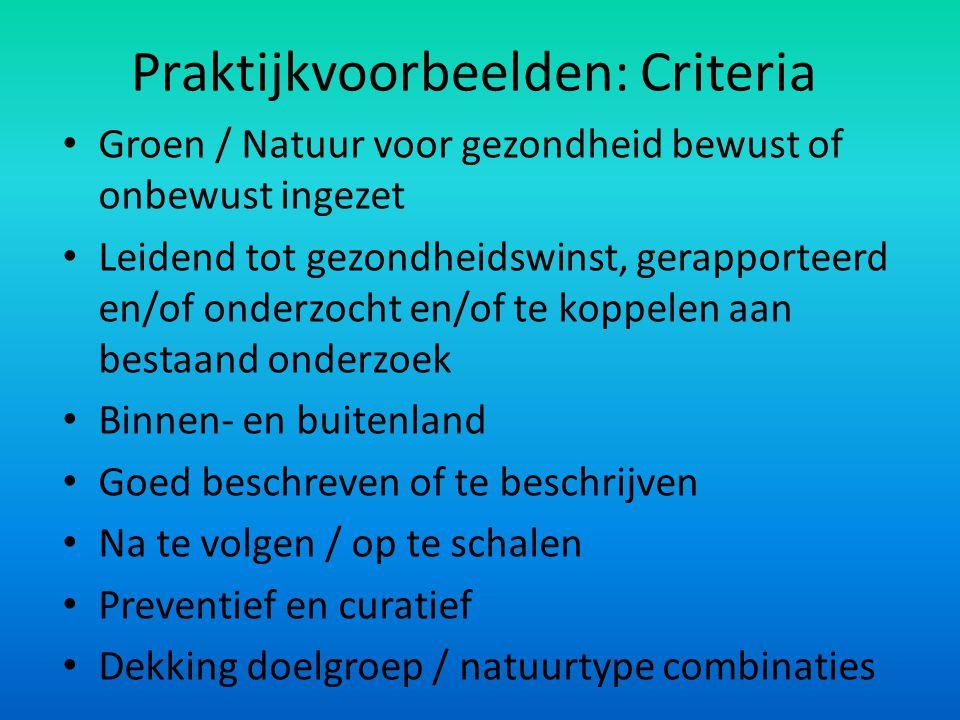 Praktijkvoorbeelden: Criteria Groen / Natuur voor gezondheid bewust of onbewust ingezet Leidend tot gezondheidswinst, gerapporteerd en/of onderzocht e
