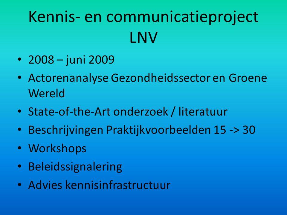 Kennis- en communicatieproject LNV 2008 – juni 2009 Actorenanalyse Gezondheidssector en Groene Wereld State-of-the-Art onderzoek / literatuur Beschrij