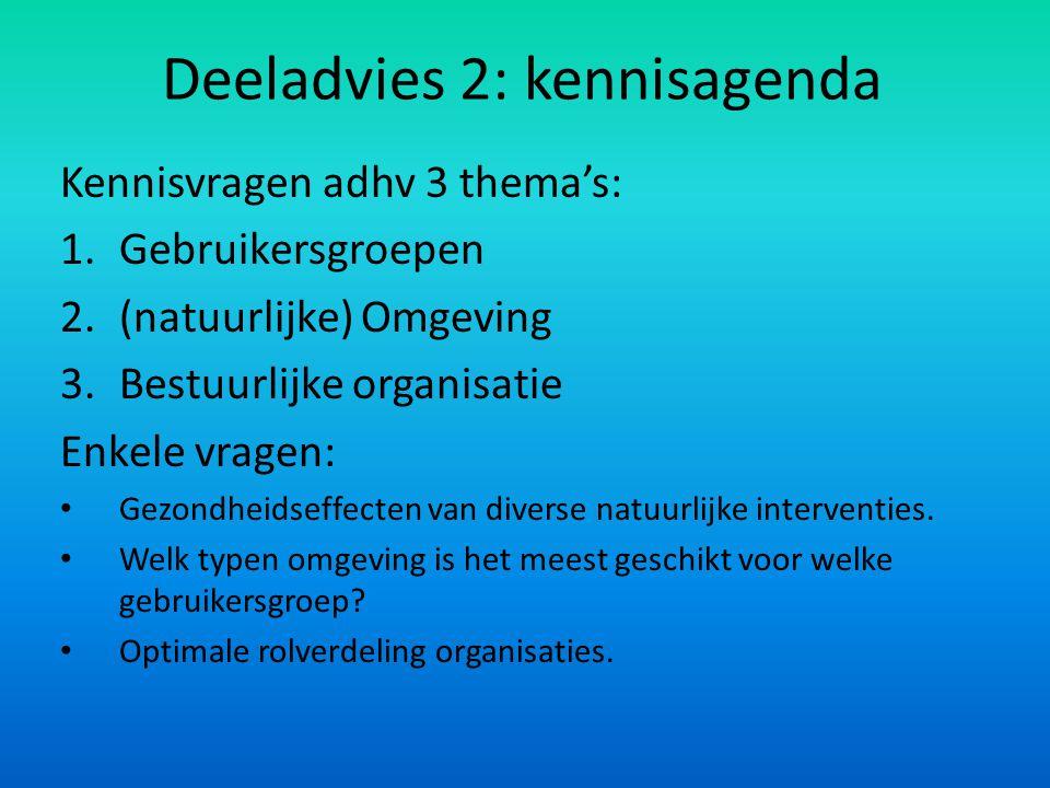 Deeladvies 2: kennisagenda Kennisvragen adhv 3 thema's: 1.Gebruikersgroepen 2.(natuurlijke) Omgeving 3.Bestuurlijke organisatie Enkele vragen: Gezondh