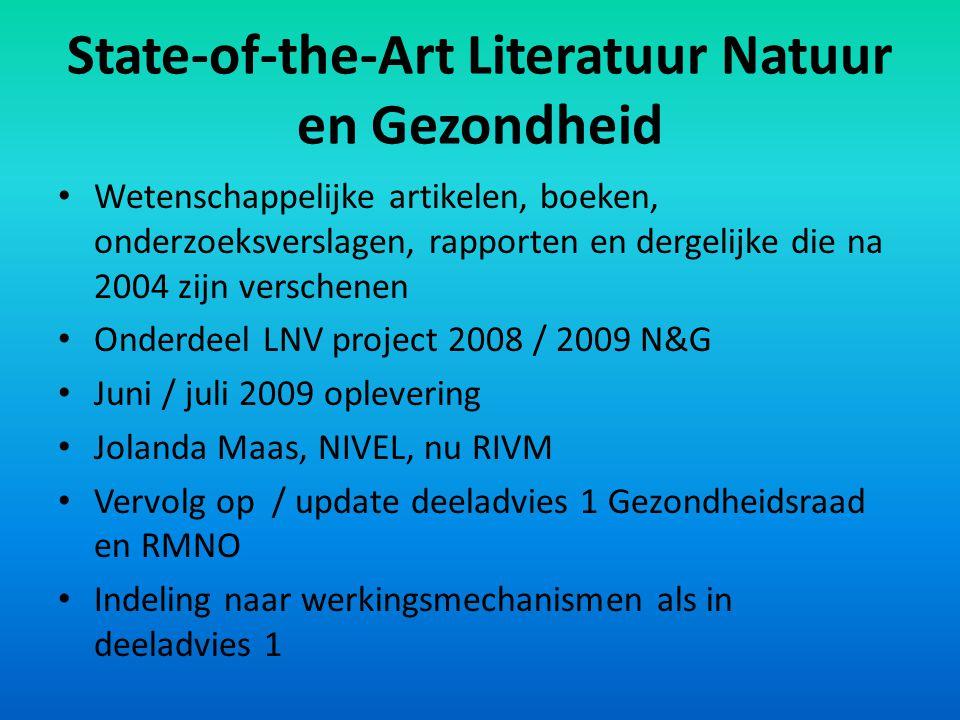 State-of-the-Art Literatuur Natuur en Gezondheid Wetenschappelijke artikelen, boeken, onderzoeksverslagen, rapporten en dergelijke die na 2004 zijn ve