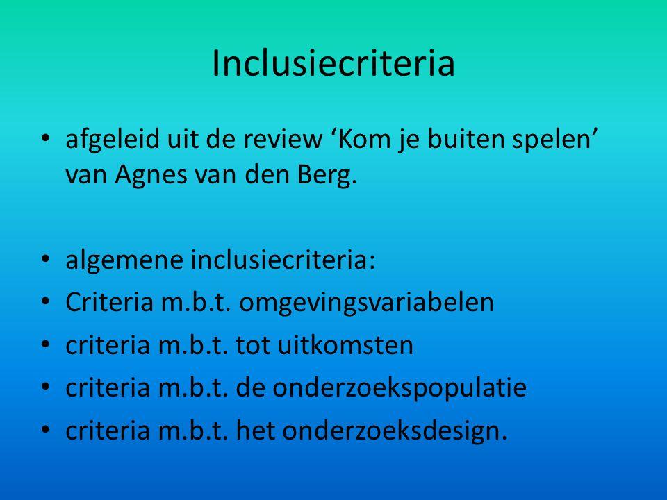 Inclusiecriteria afgeleid uit de review 'Kom je buiten spelen' van Agnes van den Berg. algemene inclusiecriteria: Criteria m.b.t. omgevingsvariabelen