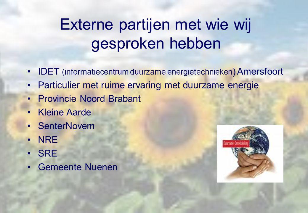 Externe partijen met wie wij gesproken hebben IDET (informatiecentrum duurzame energietechnieken ) Amersfoort Particulier met ruime ervaring met duurz