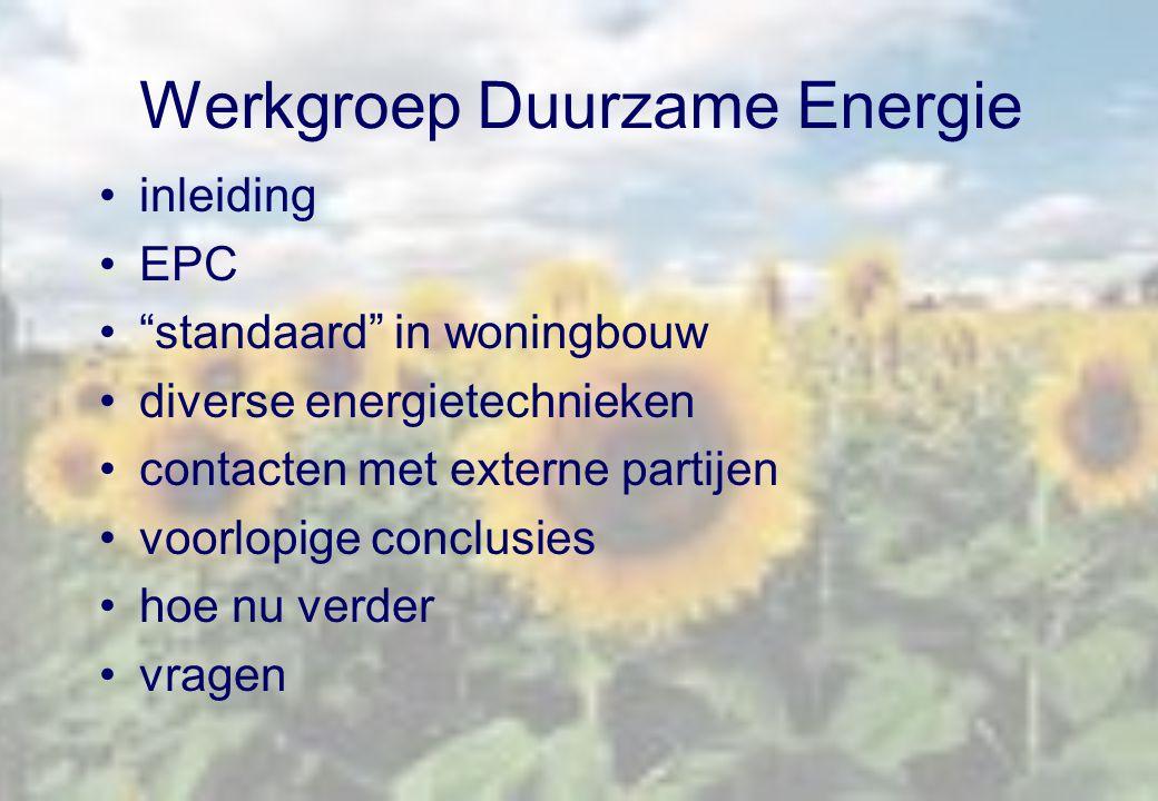 """inleiding EPC """"standaard"""" in woningbouw diverse energietechnieken contacten met externe partijen voorlopige conclusies hoe nu verder vragen"""