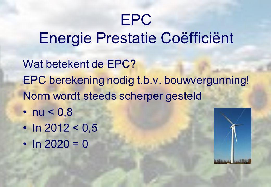 EPC Energie Prestatie Coëfficiënt Wat betekent de EPC? EPC berekening nodig t.b.v. bouwvergunning! Norm wordt steeds scherper gesteld nu < 0,8 In 2012