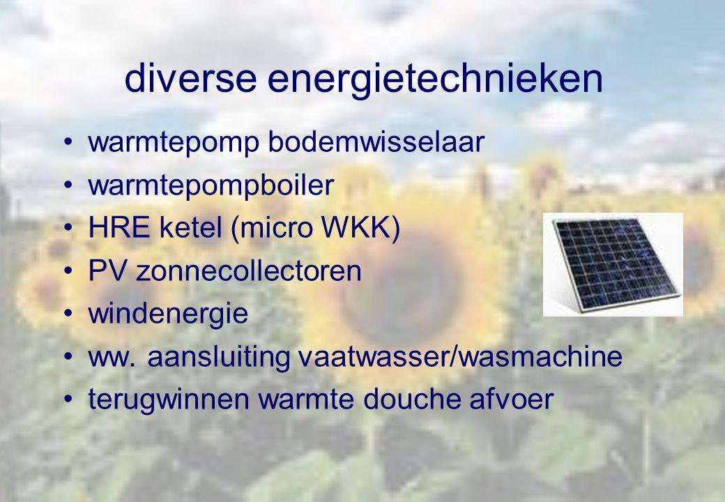 diverse energietechnieken warmtepomp bodemwisselaar warmtepompboiler HRE ketel (micro WKK) PV zonnecollectoren windenergie ww. aansluiting vaatwasser/