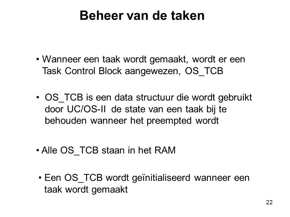 22 Wanneer een taak wordt gemaakt, wordt er een Task Control Block aangewezen, OS_TCB OS_TCB is een data structuur die wordt gebruikt door UC/OS-II de