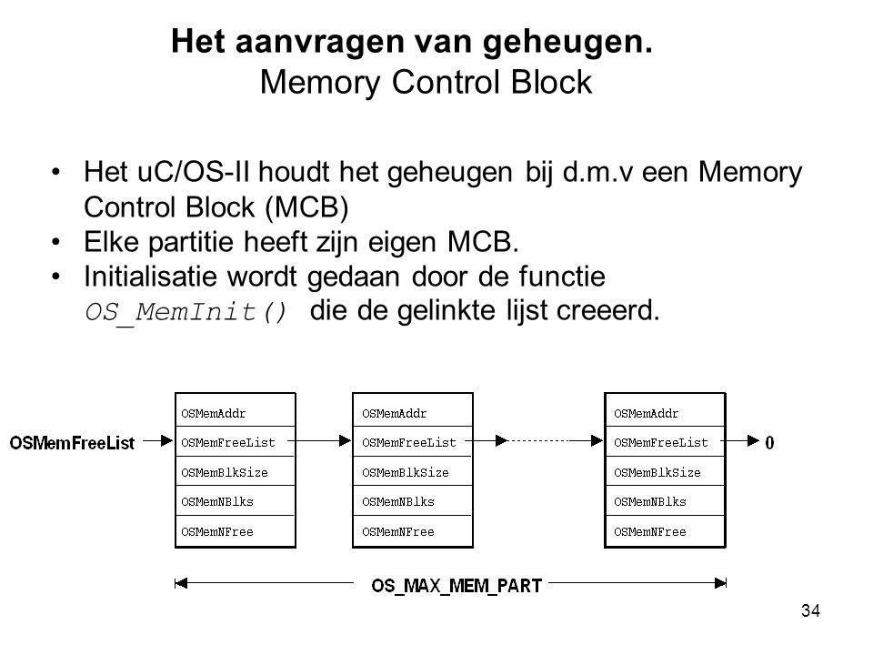 34 Het aanvragen van geheugen. Memory Control Block Het uC/OS-II houdt het geheugen bij d.m.v een Memory Control Block (MCB) Elke partitie heeft zijn