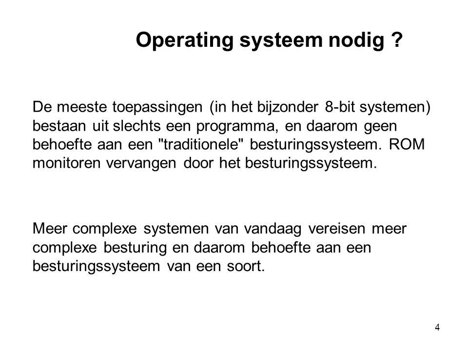 4 De meeste toepassingen (in het bijzonder 8-bit systemen) bestaan uit slechts een programma, en daarom geen behoefte aan een