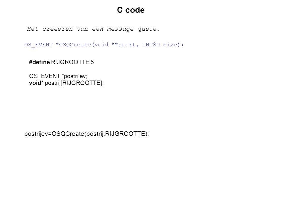 #define RIJGROOTTE 5 OS_EVENT *postrijev; void* postrij[RIJGROOTTE]; C code Het creeeren van een message queue. postrijev=OSQCreate(postrij,RIJGROOTTE