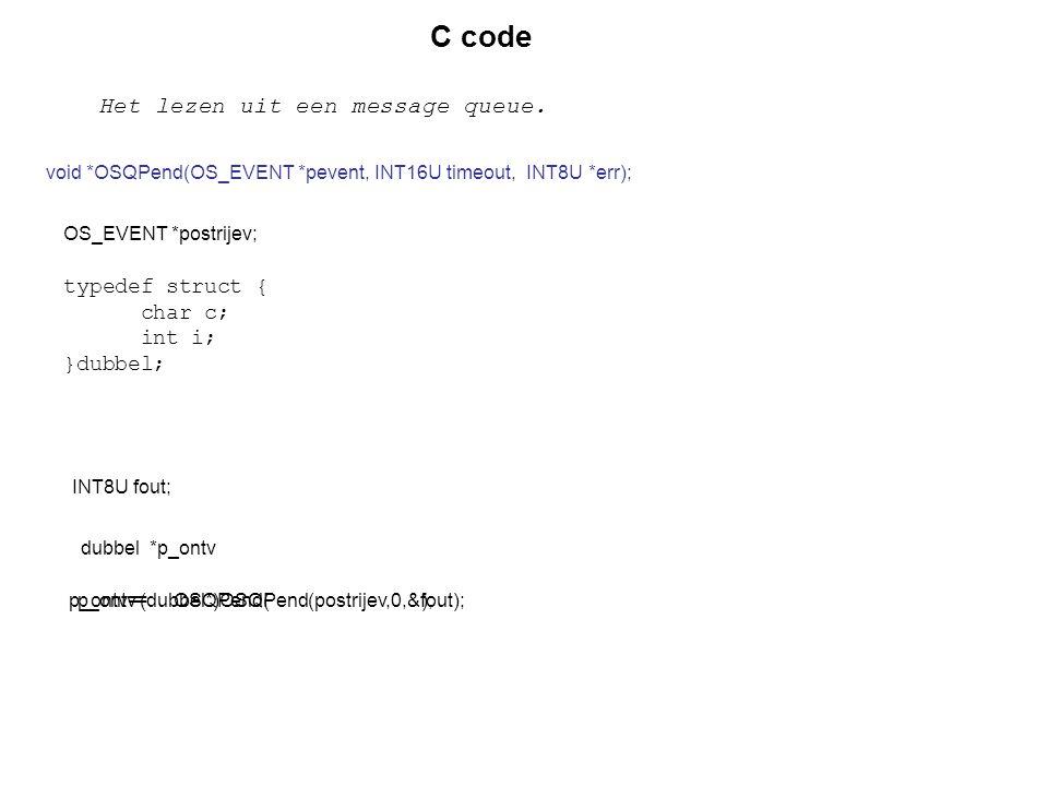 OS_EVENT *postrijev; C code Het lezen uit een message queue. void *OSQPend(OS_EVENT *pevent, INT16U timeout, INT8U *err); typedef struct { char c; int
