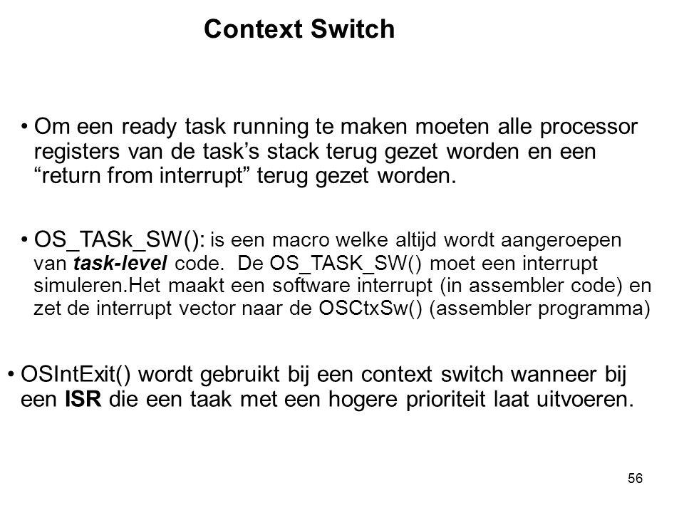 """56 Context Switch Om een ready task running te maken moeten alle processor registers van de task's stack terug gezet worden en een """"return from interr"""