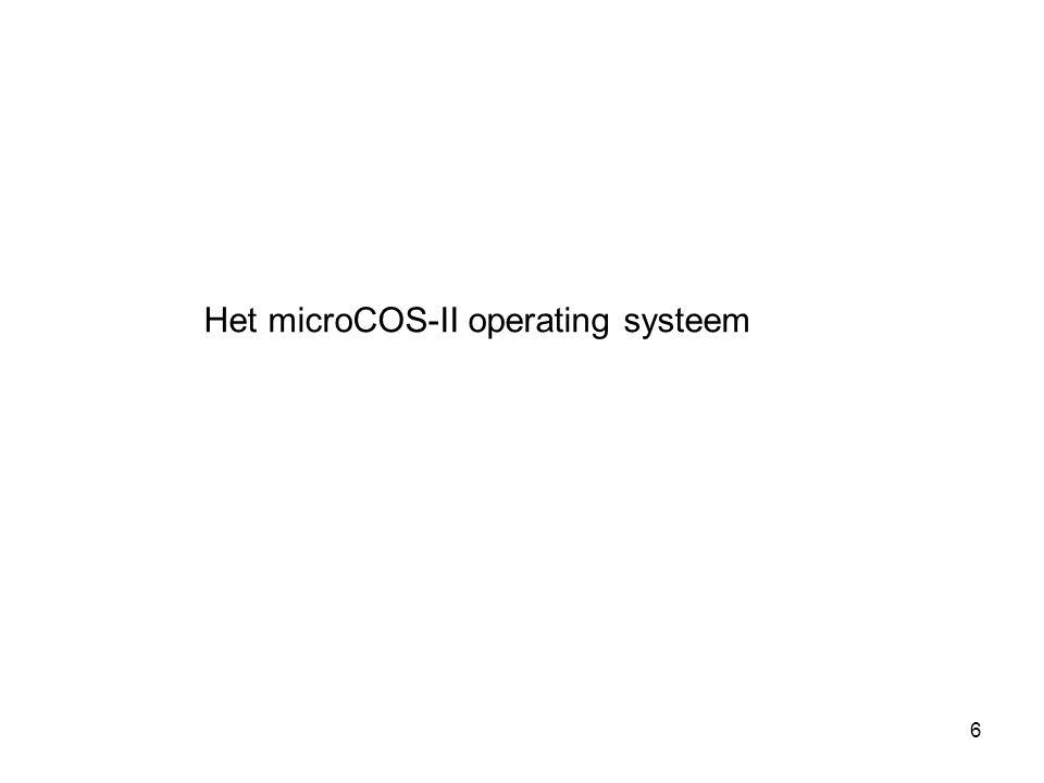 57 Context Switch OS_CPU_A.ASM OSStartHighRdy() OSCtxSw() OSIntCtxSw() OSTickISR() OSStartHighRdy() wordt aangeroepen door OSStart() om de taak met de hoogste prioriteit te laten starten.