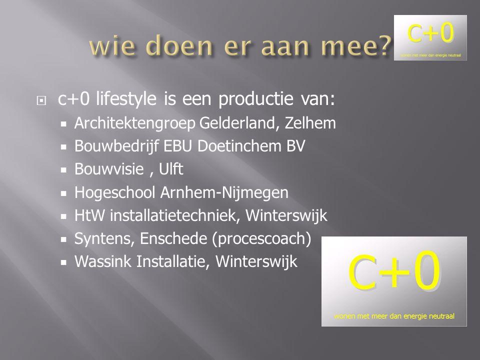  c+0 lifestyle is een productie van:  Architektengroep Gelderland, Zelhem  Bouwbedrijf EBU Doetinchem BV  Bouwvisie, Ulft  Hogeschool Arnhem-Nijmegen  HtW installatietechniek, Winterswijk  Syntens, Enschede (procescoach)  Wassink Installatie, Winterswijk