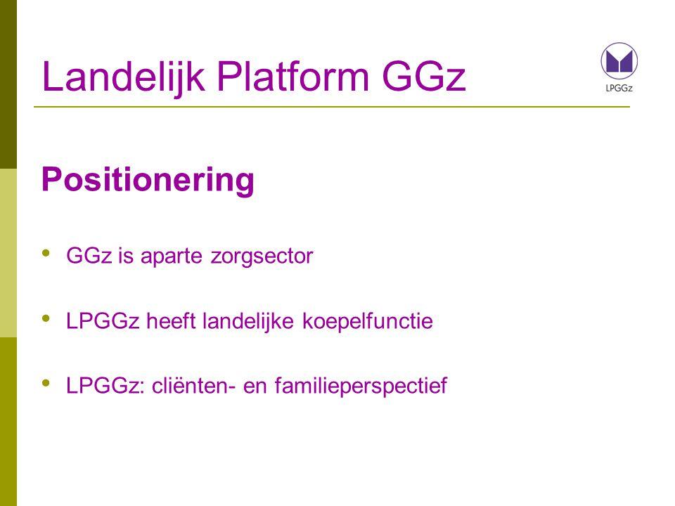 Landelijk Platform GGz Positionering GGz is aparte zorgsector LPGGz heeft landelijke koepelfunctie LPGGz: cliënten- en familieperspectief