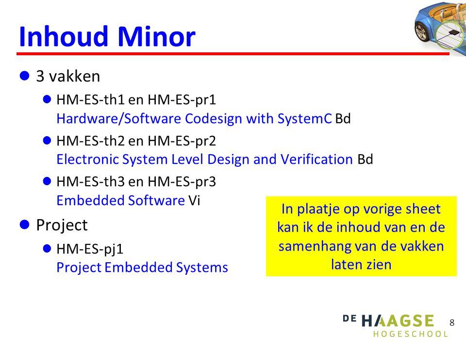 8 Inhoud Minor 3 vakken HM-ES-th1 en HM-ES-pr1 Hardware/Software Codesign with SystemC Bd HM-ES-th2 en HM-ES-pr2 Electronic System Level Design and Ve