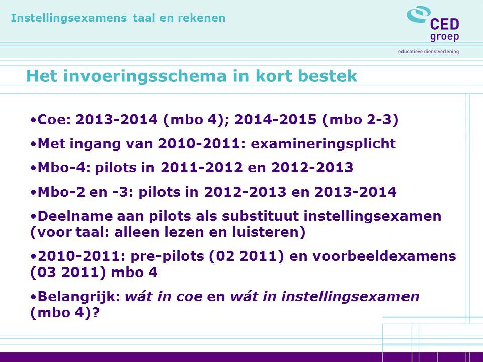 Het invoeringsschema in kort bestek Instellingsexamens taal en rekenen Coe: 2013-2014 (mbo 4); 2014-2015 (mbo 2-3) Met ingang van 2010-2011: examineri