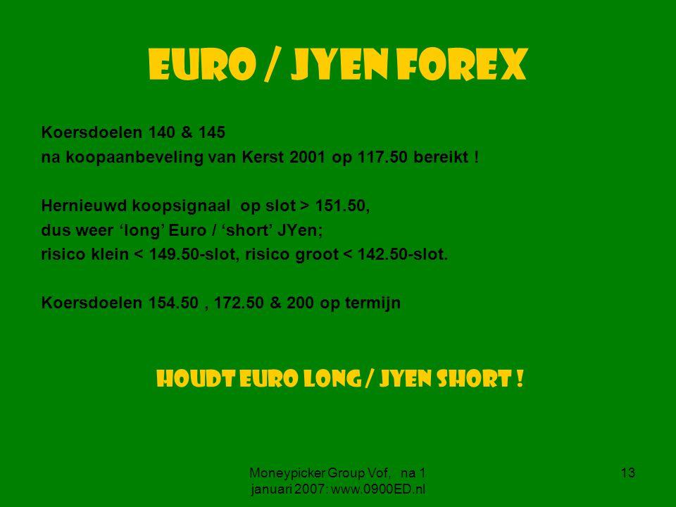 Moneypicker Group Vof, na 1 januari 2007: www.0900ED.nl 13 Euro / JYen forex Koersdoelen 140 & 145 na koopaanbeveling van Kerst 2001 op 117.50 bereikt .
