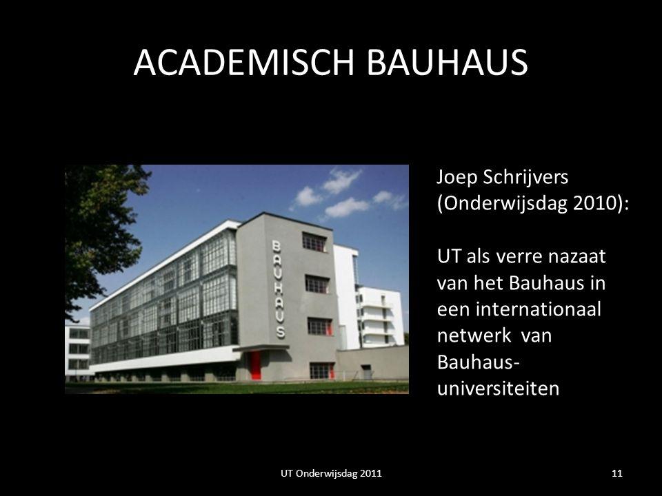 ACADEMISCH BAUHAUS 11 Joep Schrijvers (Onderwijsdag 2010): UT als verre nazaat van het Bauhaus in een internationaal netwerk van Bauhaus- universiteiten UT Onderwijsdag 2011