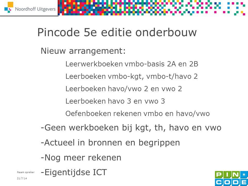 21/7/14 Naam spreker 3 Pincode 5e editie onderbouw Nieuw arrangement: Leerwerkboeken vmbo-basis 2A en 2B Leerboeken vmbo-kgt, vmbo-t/havo 2 Leerboeken