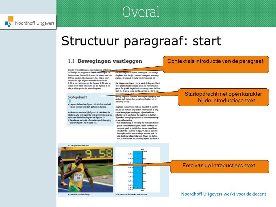 Structuur paragraaf: start Context als introductie van de paragraaf. Foto van de introductiecontext. Startopdracht met open karakter bij de introducti