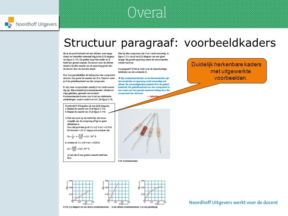 Structuur paragraaf: voorbeeldkaders Duidelijk herkenbare kaders met uitgewerkte voorbeelden.