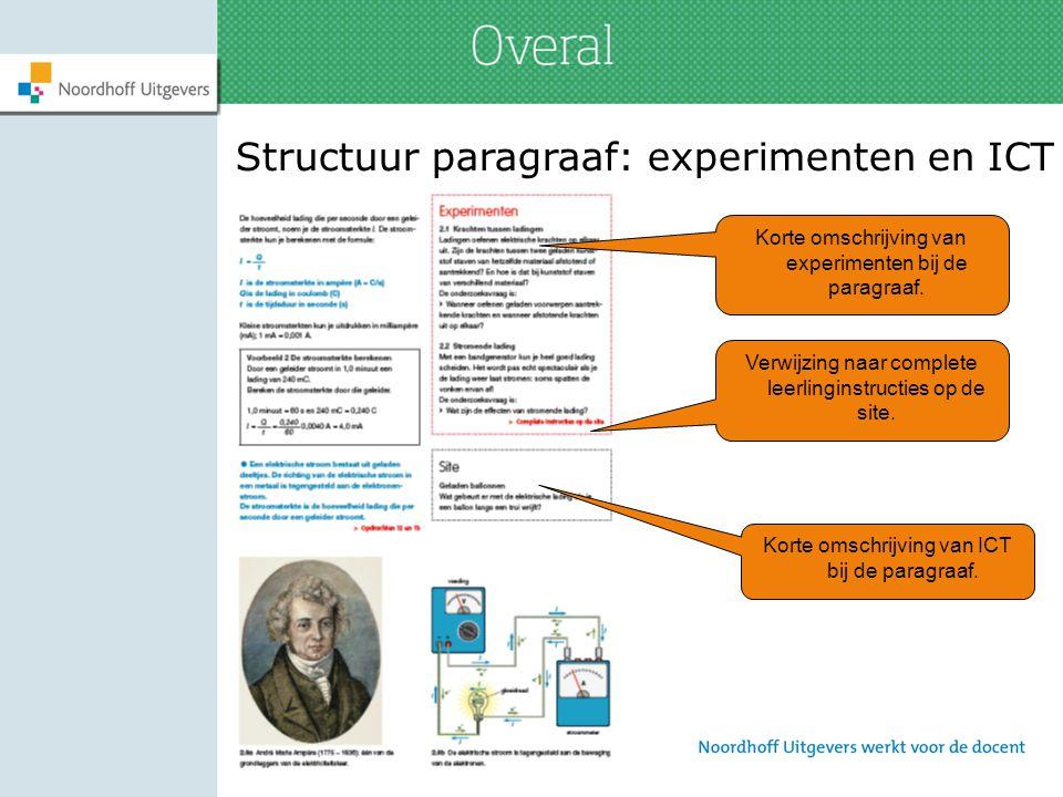 Structuur paragraaf: experimenten en ICT Korte omschrijving van experimenten bij de paragraaf. Verwijzing naar complete leerlinginstructies op de site