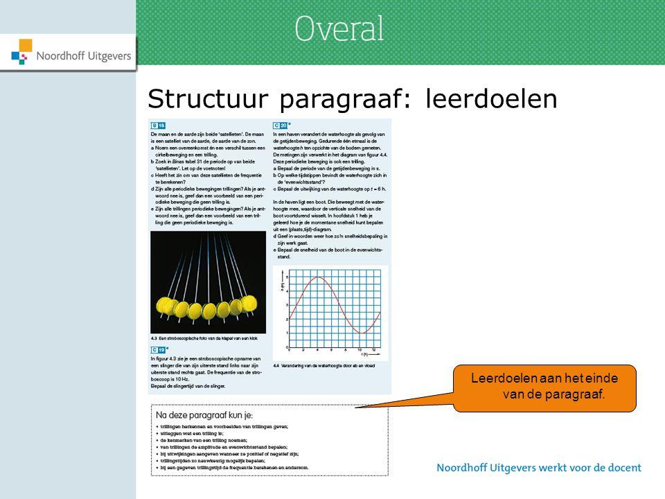 Structuur paragraaf: leerdoelen Leerdoelen aan het einde van de paragraaf.