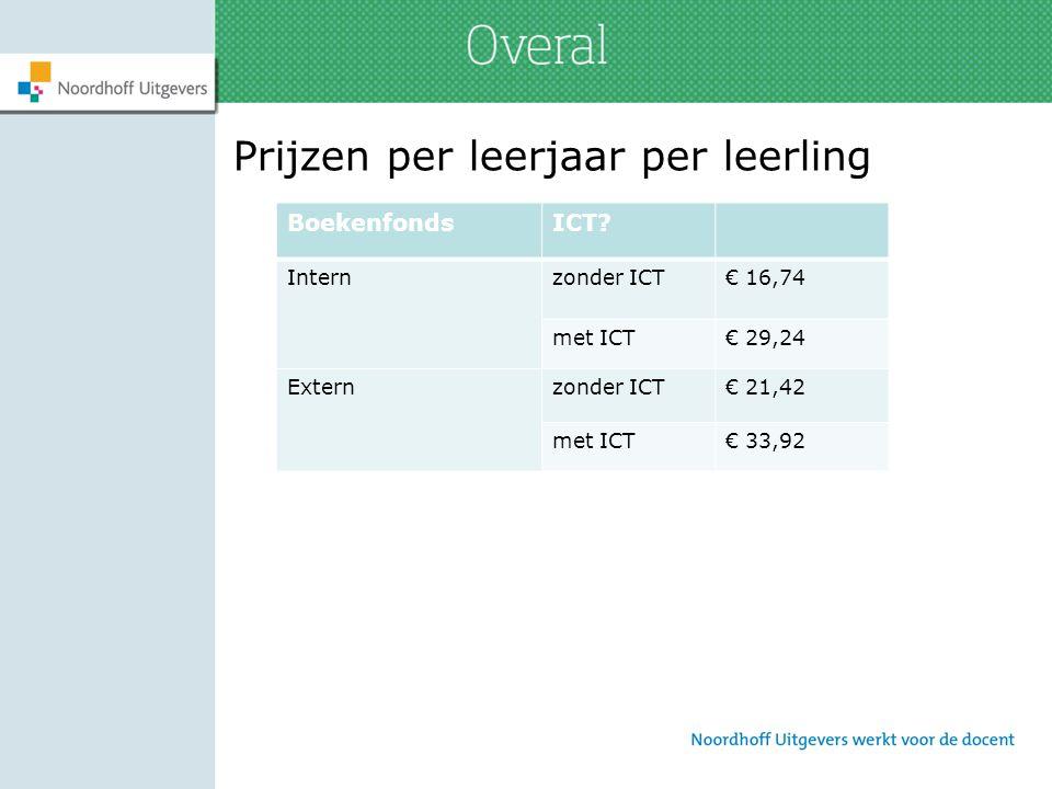 Prijzen per leerjaar per leerling BoekenfondsICT? Internzonder ICT€ 16,74 met ICT€ 29,24 Externzonder ICT€ 21,42 met ICT€ 33,92