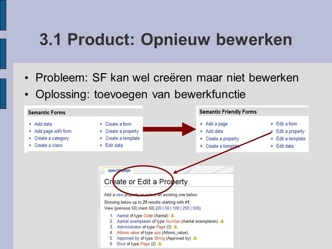 3.1 Product: Opnieuw bewerken Probleem: SF kan wel creëren maar niet bewerken Oplossing: toevoegen van bewerkfunctie