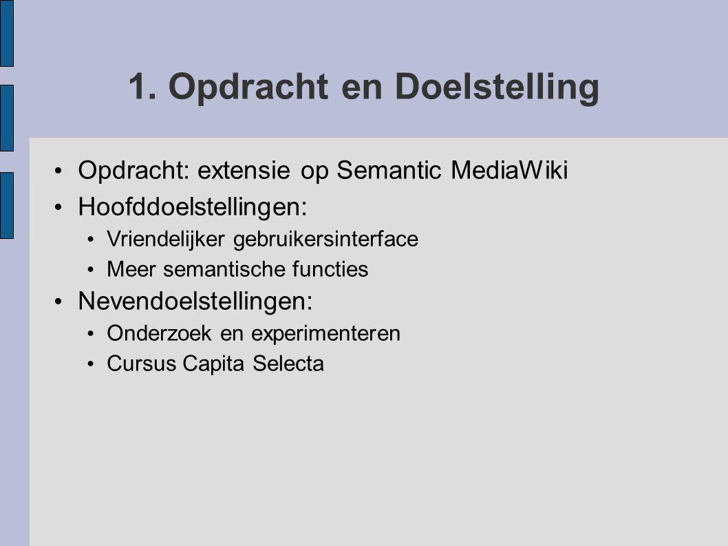 1. Opdracht en Doelstelling Opdracht: extensie op Semantic MediaWiki Hoofddoelstellingen: Vriendelijker gebruikersinterface Meer semantische functies