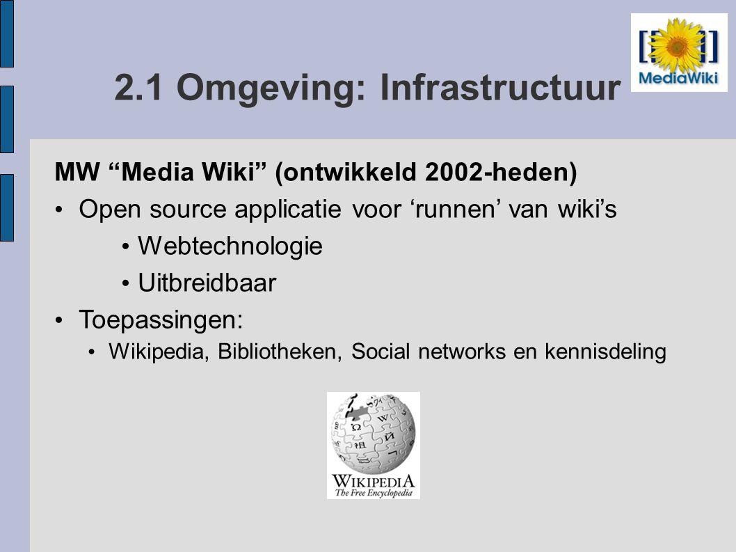 2.2 Omgeving: Infrastructuur SMW Semantic MediaWiki (2005-heden) Open source extensie op MediaWiki Voegt semantiek toe via: Properties en Types, Querytaal, Exportmogelijkheid SF Semantic Forms (2007-heden) Open source extensie op MediaWiki en SMW Voegt formulieren toe voor creëren van: Properties, Templates, Forms, Pages