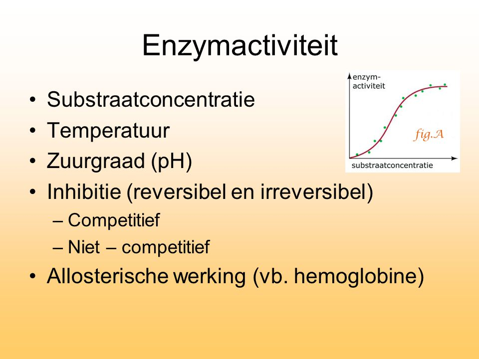 Enzymactiviteit Substraatconcentratie Temperatuur Zuurgraad (pH) Inhibitie (reversibel en irreversibel) –Competitief –Niet – competitief Allosterische