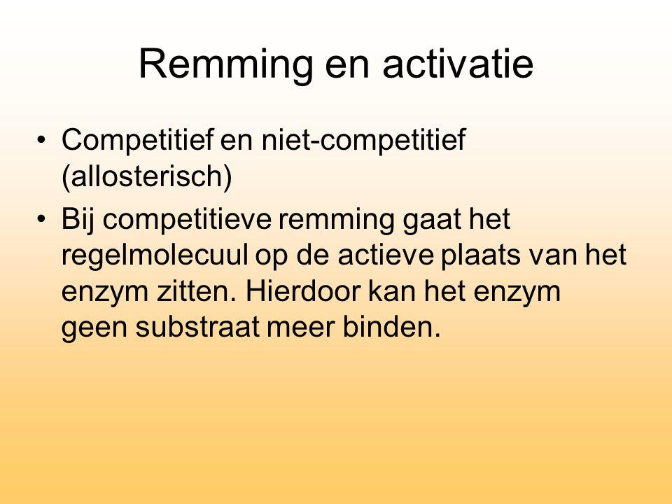Remming en activatie Competitief en niet-competitief (allosterisch) Bij competitieve remming gaat het regelmolecuul op de actieve plaats van het enzym