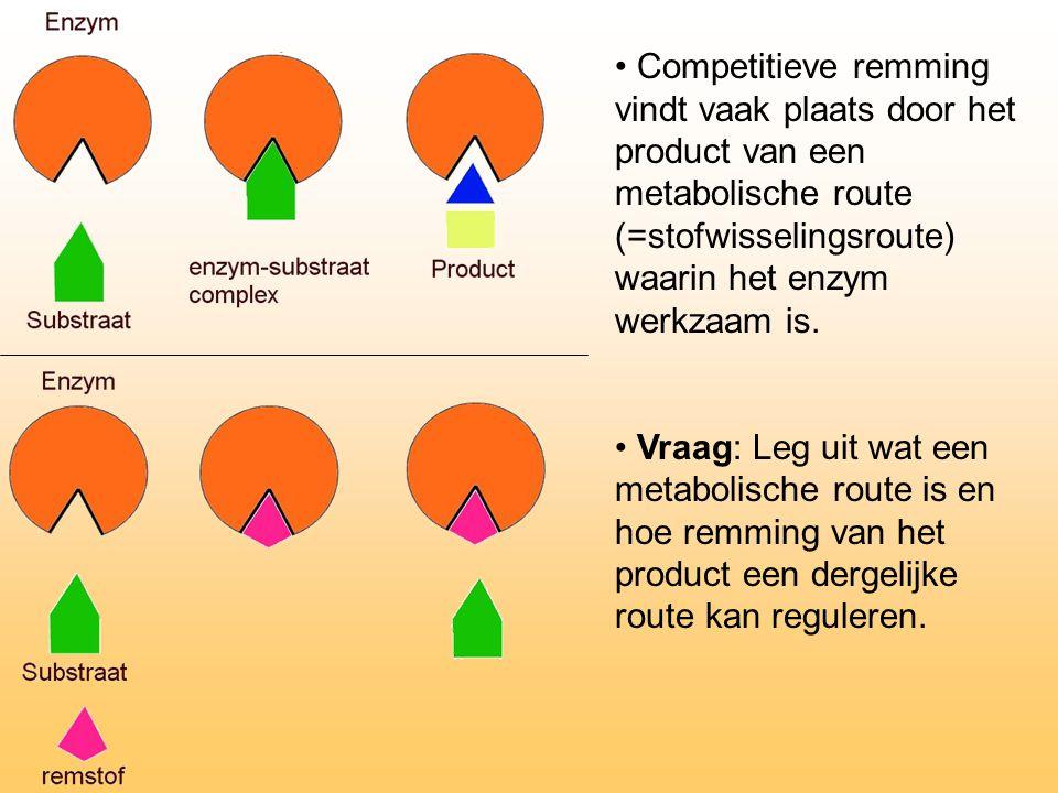 Competitieve remming vindt vaak plaats door het product van een metabolische route (=stofwisselingsroute) waarin het enzym werkzaam is. Vraag: Leg uit
