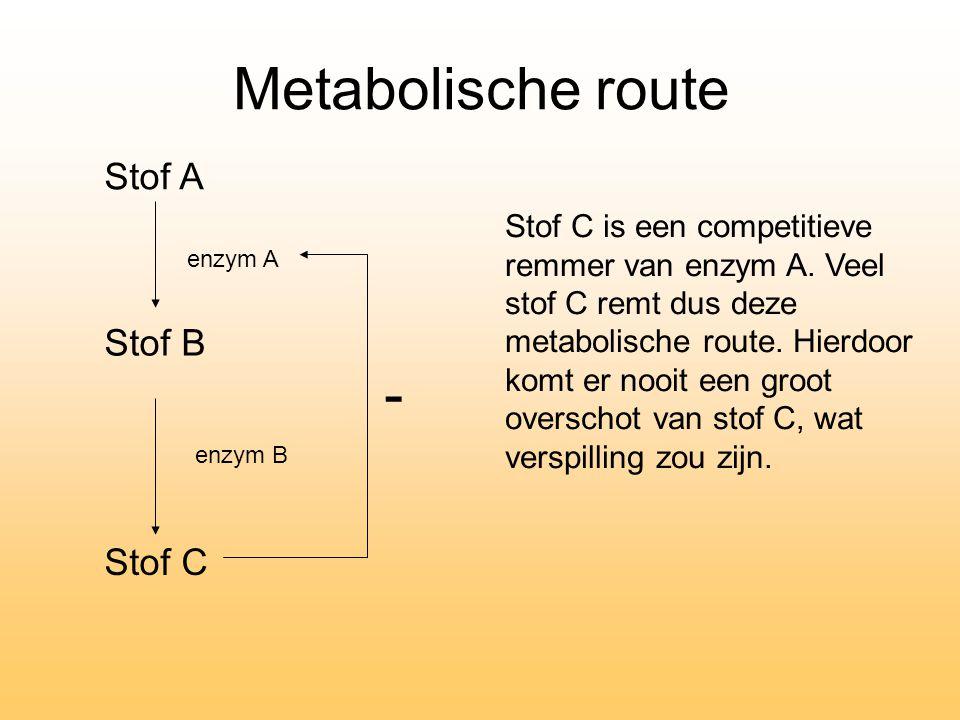 Stof B Stof C Stof A enzym A enzym B Stof C is een competitieve remmer van enzym A. Veel stof C remt dus deze metabolische route. Hierdoor komt er noo