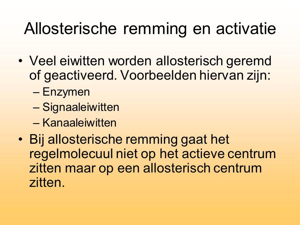 Allosterische remming en activatie Veel eiwitten worden allosterisch geremd of geactiveerd. Voorbeelden hiervan zijn: –Enzymen –Signaaleiwitten –Kanaa