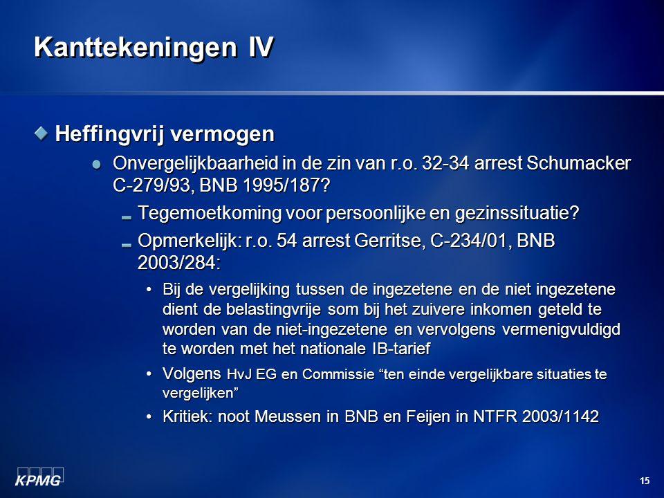 15 Kanttekeningen IV Heffingvrij vermogen Onvergelijkbaarheid in de zin van r.o. 32-34 arrest Schumacker C-279/93, BNB 1995/187? Tegemoetkoming voor p