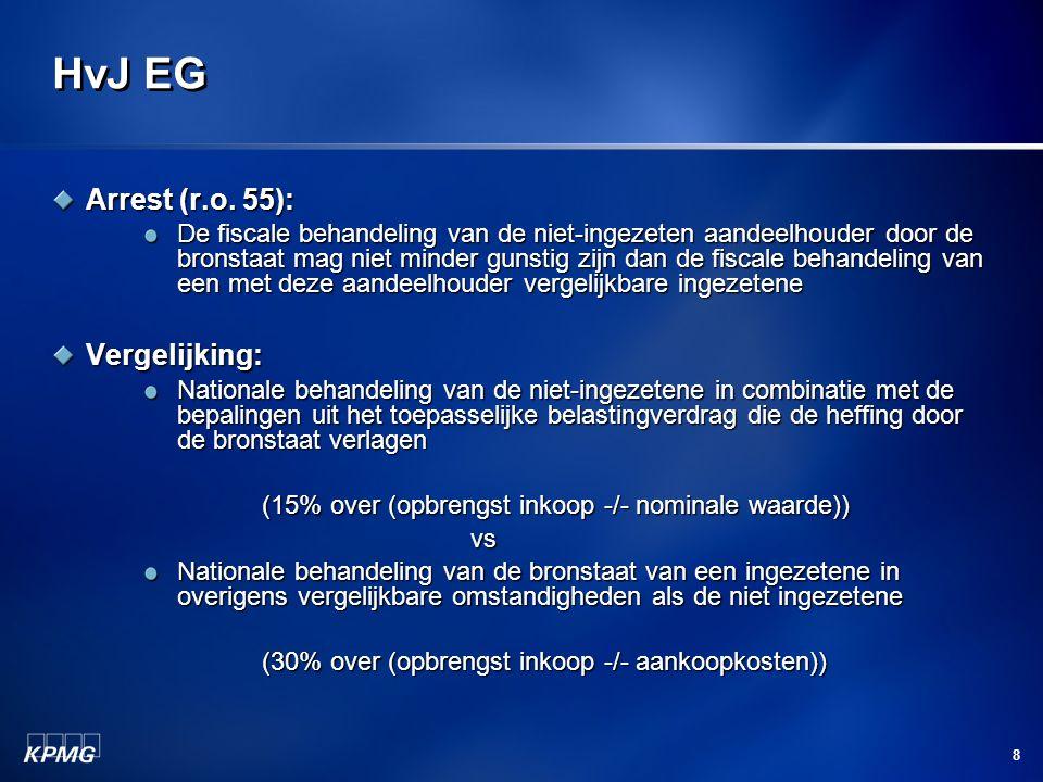 8 HvJ EG Arrest (r.o. 55): De fiscale behandeling van de niet-ingezeten aandeelhouder door de bronstaat mag niet minder gunstig zijn dan de fiscale be